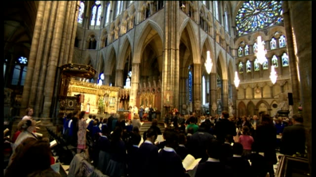 duchess of cornwall attends harvest festival service at westminster abbey; harvest festival service in progress / duchess of cornwall at service - harvest festival stock videos & royalty-free footage