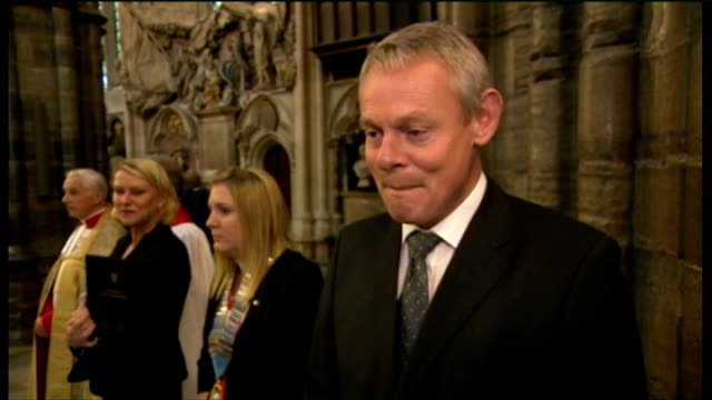 duchess of cornwall attends harvest festival service at westminster abbey; martin clunes interview sot - マーティン クランズ点の映像素材/bロール
