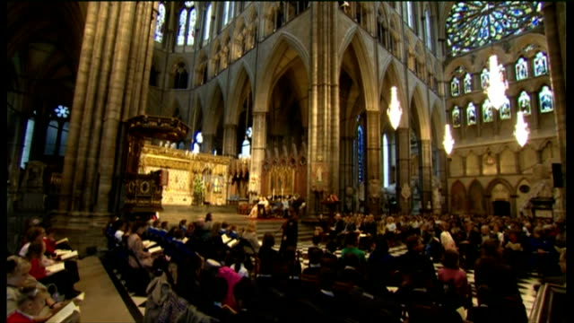 duchess of cornwall attends harvest festival service at westminster abbey; harvest festival service in progress - harvest festival stock videos & royalty-free footage