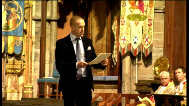 Duchess of Cornwall attends Harvest Festival service at Westminster Abbey Damian Lewis giving reading SOT