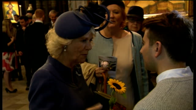 duchess of cornwall attends harvest festival service at westminster abbey; duchess of cornwall talking to people ext duchess of cornwall standing in... - harvest festival stock videos & royalty-free footage
