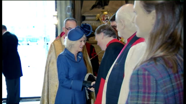 duchess of cornwall attends harvest festival service at westminster abbey; england: london: westminster: westminster abbey: int camilla, duchess of... - harvest festival stock videos & royalty-free footage