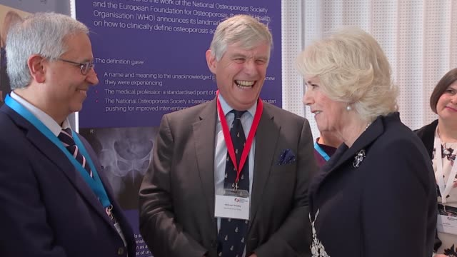 duchess of cornwall attends launch of royal osteoporosis society & speech; england: london: kensington: science museum: int camilla, duchess of... - julian fellowes stock videos & royalty-free footage