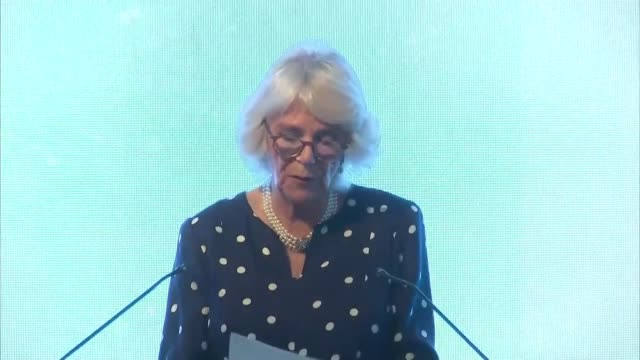 duchess of cornwall attends women of the year lunch camilla meeting guests including julie etchinigham cressida dick dany cotton / sandi toksvig... - sandi toksvig stock videos & royalty-free footage