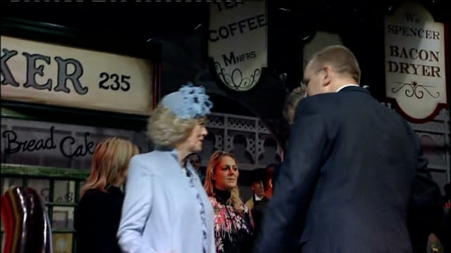 duchess of cornwall launches liner 'queen victoria' camilla and charles shaking hands with more staff and pageant performers close shot of plaque... - charles bridge stock-videos und b-roll-filmmaterial