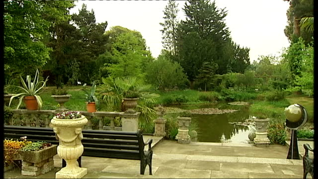 duchess of cornwall opens myddelton house gardens at lee valley park; general views of pond in myddelton house gardens andrew turvey interview sot - pond stock videos & royalty-free footage