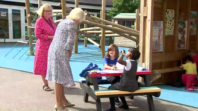 duchess of cornwall opens new library at school in southwark; england: london: brockley: ivydale primary school: ext camilla, duchess of cornwall... - teacher stock videos & royalty-free footage