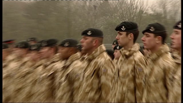 duchess of cornwall presents iraq tour medals to british troops; various of camilla pinning operational medals onto rows of uniformed soldiers - pinning stock videos & royalty-free footage