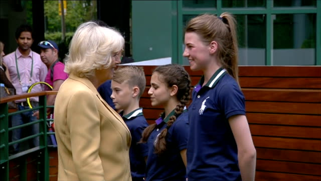 duchess of cornwall visit to wimbledon england london wimbledon ext camilla duchess of cornwall arriving out of car and into building camilla meeting... - finalist stock videos & royalty-free footage