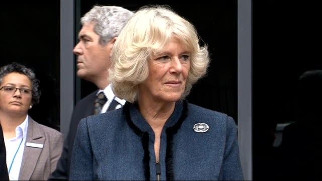 duchess of cornwall visits battersea dogs home and opens new cattery ext signs 'battersea dogs cats home' and '150 1860 2010' plaque covered with... - battersea stock videos & royalty-free footage