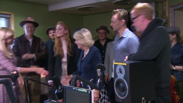 vídeos y material grabado en eventos de stock de duchess of cornwall visits bbc radio 2 to judge '500 words' children's creative writing competition; england: london: bbc broadcasting house: int... - bbc radio