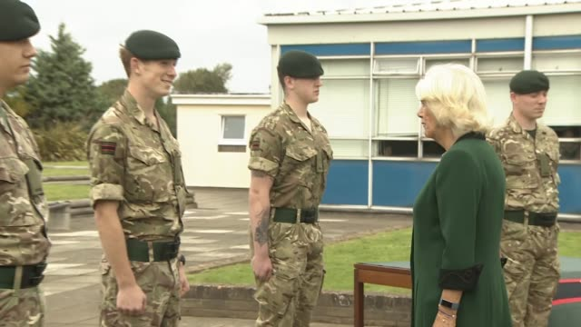 duchess of cornwall visits beachley barracks; wales: monmouthshire: chepstow: beachley barracks: ext camilla, duchess of cornwall, arrival and... - infantry stock videos & royalty-free footage
