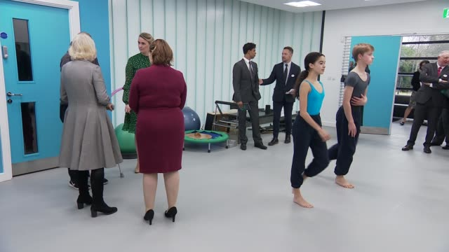 duchess of cornwall visits elmhurst ballet school england birmingham edgbaston int camilla duchess of cornwall entering physiotherapy studio and... - physiotherapy stock videos & royalty-free footage