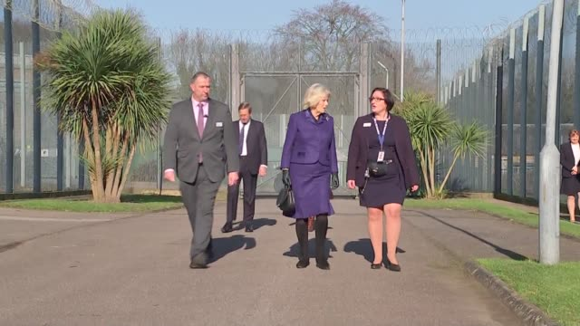 duchess of cornwall visits hm prison downview in sutton; england: surrey: sutton: hm prison downview: ext camilla, duchess of cornwall, arrival and... - britisches königshaus stock-videos und b-roll-filmmaterial