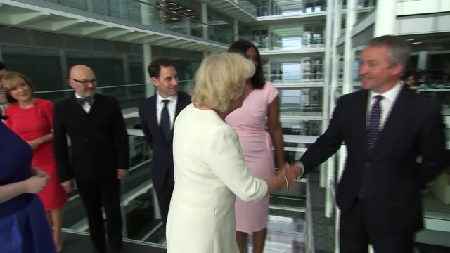 duchess of cornwall visits itn headquarters to mark 21st anniversary of 5 news england london gir throughout*** camilla duchess of cornwall along and... - daniel pearl stock videos & royalty-free footage