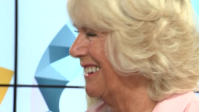 duchess of cornwall visits itv studios; england: london: int **beware flash photography** itv 60th anniversary cake / itv presenters including kate... - lorraine kelly stock videos & royalty-free footage