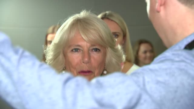 Duchess of Cornwall visits ITV studios Screen showing 'This Morning Royal Visit' / production crew members working in production gallery / Camilla...