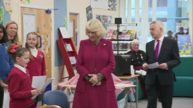 duchess of cornwall visits north swindon library listens to children's story presents certificates and cuts cake england wiltshire swindon north... - cornwall england stock videos and b-roll footage
