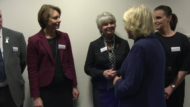 duchess of cornwall visits royal stoke university hospital camilla meets staff and campaigners in domestic abuse department refuses cup of tea /... - domestic staff stock videos and b-roll footage
