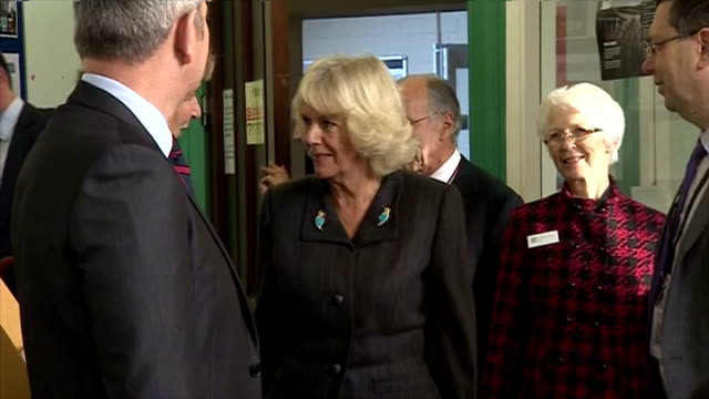 duchess of cornwall visits the friends of erlestoke prison. interior shots of camilla parker bowles, duchess of cornwall talking to officials at hmp... - wiltshire stock videos & royalty-free footage