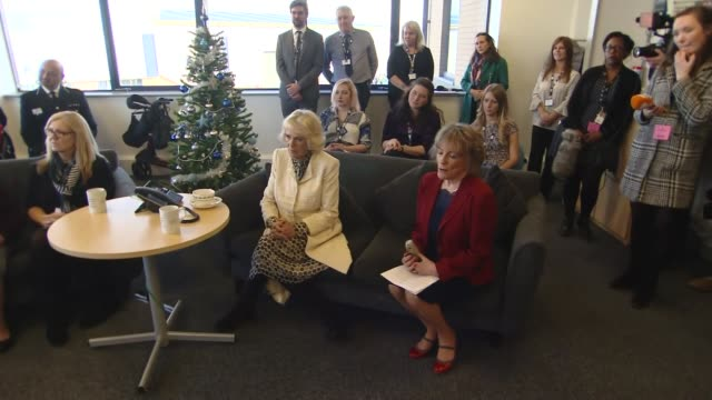Duchess of Cornwall visits The Silver Line charity in Blackpool Camilla Duchess of Cornwall and Dame Esther Rantzen taking phone calls / Duchess of...