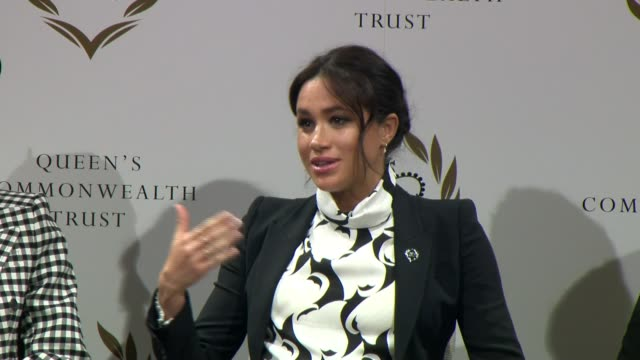 duchess of sussex joins panel discussion to mark international women's day england london king's college london int meghan duchess of sussex speaking... - advertisement stock videos & royalty-free footage