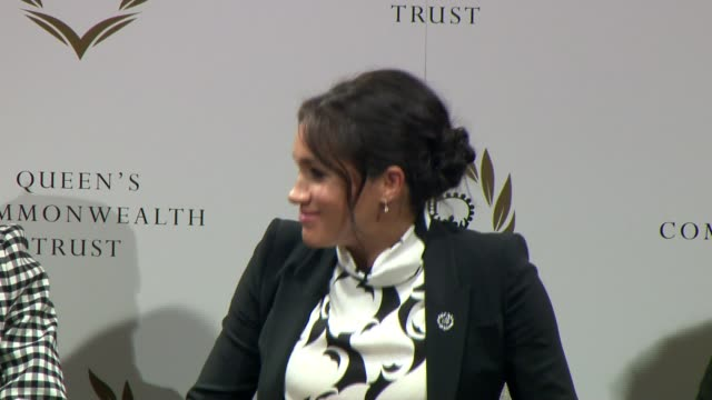 duchess of sussex joins panel discussion to mark international women's day; england: london: king's college london: int meghan, duchess of sussex... - panel discussion stock videos & royalty-free footage