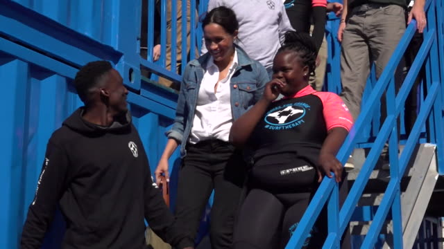 duchess of sussex laughing during visit to mental health charity waves for change at monwabisi beach during their tour of africa - cape town stock videos & royalty-free footage