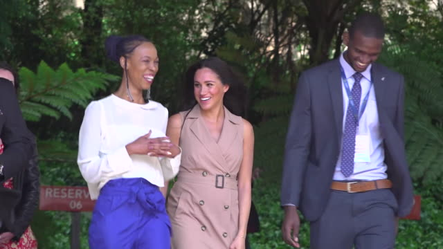 duchess of sussex receives loud cheers as she leaves after her visit to the university of johannesburg during the royal tour of africa - prince harry stock videos & royalty-free footage