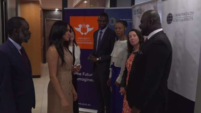 duchess of sussex speaking at roundtable discussion south africa johannesburg university of johannesburg int meghan duchess of sussex departing lift... - round table discussion stock videos & royalty-free footage
