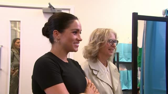 duchess of sussex visits smart works as her first charity patronages are revealed; england: london: notting hill: int meghan, duchess of sussex at... - itv stock videos & royalty-free footage
