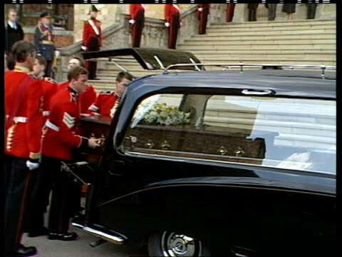 duchess of windsor funeral; england: berkshire: windsor: windsor castle: st george's chapel: coffin of wallis, duchess of windsor carried by welsh... - church stock videos & royalty-free footage