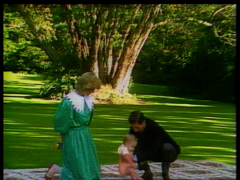 duchess of york baby; itn lib ext new zealand: auckland: prince & princess of wales standing on rug on lawn, prince charles holding prince william... - ヨーク公爵夫人点の映像素材/bロール