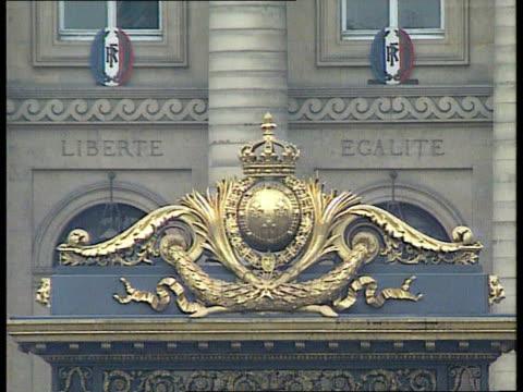 photographs; france paris gv avenue leading to palais de justice cms crest at palais de justice int tcms copy of `paris match' as pages turned cms... - ヨーク公爵夫人点の映像素材/bロール