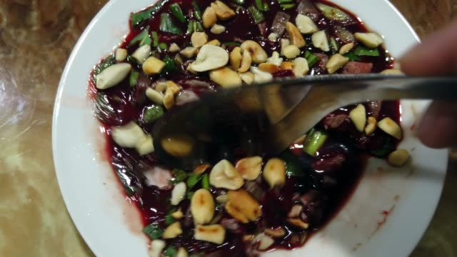 duck blood soup vietnamese - animal blood stock videos and b-roll footage