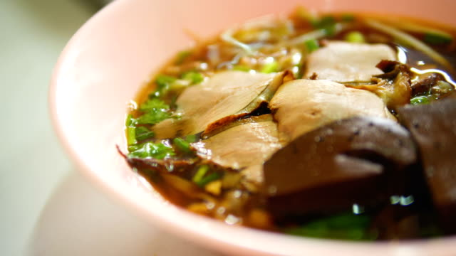 duck noodle , hot roast duck soup in bowl , thai food. - bowl stock videos and b-roll footage