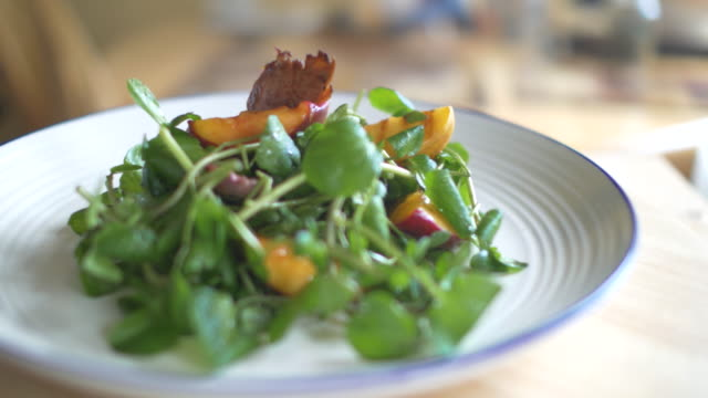 duck watercress salad - peach stock videos & royalty-free footage