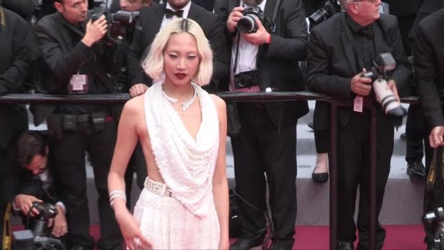 duckie thot doutzen kroes soo joo park luma grothe and more on the red carpet for the screening of once upon a time in hollywood cannes france on... - 72nd international cannes film festival stock videos and b-roll footage