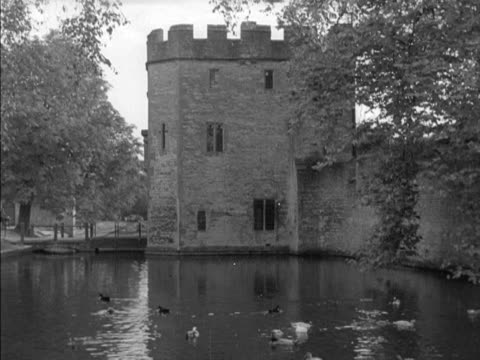 Ducks swim in the moat of the Bishops Palace in Wells Somerset