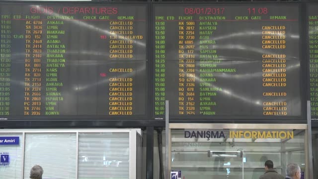Due to the snow storm in Istanbul Turkish Airlines cancels 640 domestic and international flights on January 08 2017 in Istanbul Turkey According to...