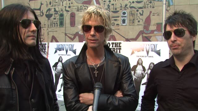 duff mckagan and his band 'loaded' on the event what it takes to stay on top in the music business at the 'anvil the story of anvil' premiere at los... - anvil the story of anvil stock videos and b-roll footage