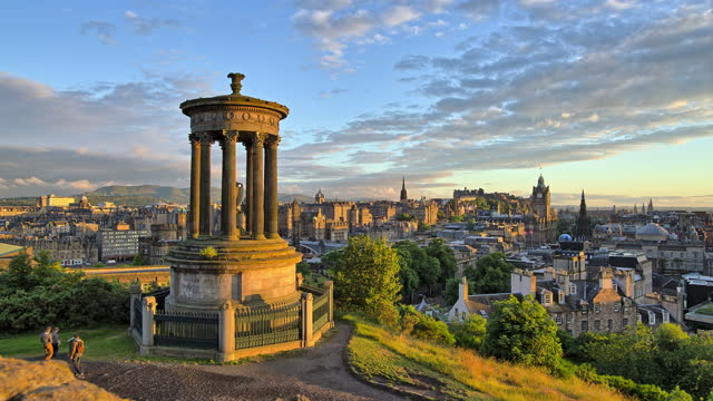 dugald stewart monument and village around it / edinburgh, scotland, united kingdom - monument stock videos & royalty-free footage