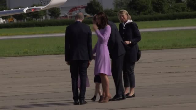 Duke and Duchess of Cambridge along with their children depart Hamburg airport as they finish their royal tour of Poland and Germany