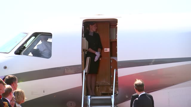 duke and duchess of cambridge arrive at airport and visit brandenburg gate germany berlin berlin brandenburg airport ext prince william catherine... - arrival stock videos & royalty-free footage