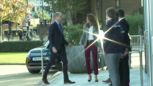 duke and duchess of cambridge arrive at launch of shout a texting crisis service shake hands with ian russell - mental health professional stock videos & royalty-free footage