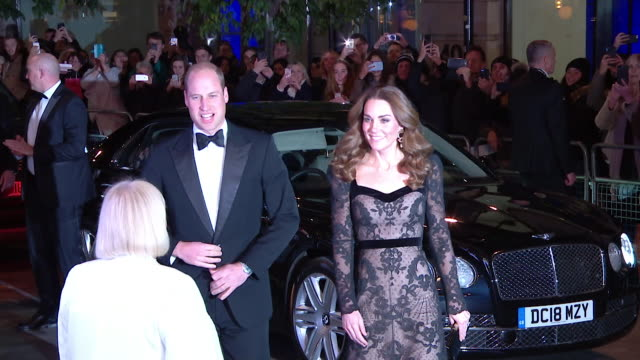 duke and duchess of cambridge arrive at the london palladium for the royal variety performance - evening gown stock videos & royalty-free footage