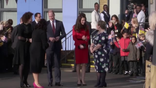 Duke and Duchess of Cambridge arriving and leaving Mitchell Brook Primary School for the Place2be event for Children's Mental Health The Duchess of...