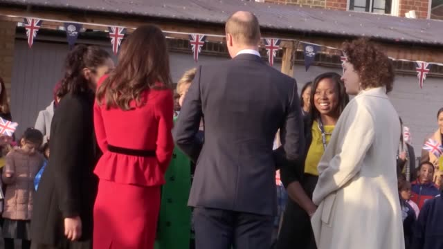 Duke and Duchess of Cambridge arriving at Mithcell Brook Primary School for the Place2be event for Children's Mental Health The Duchess of Cambridge...