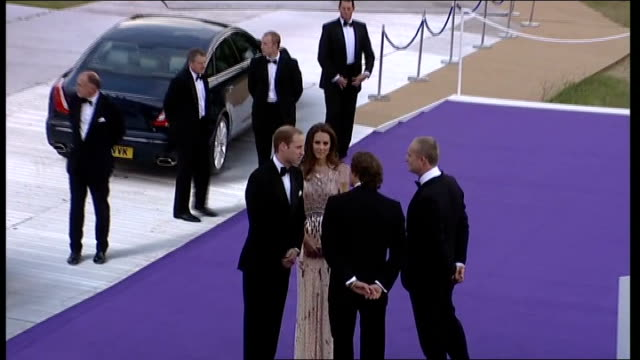 duke and duchess of cambridge attend ark charity dinner; england: london: kensington palace: ext car pulls up and prince william, duke of cambridge... - gala stock videos & royalty-free footage