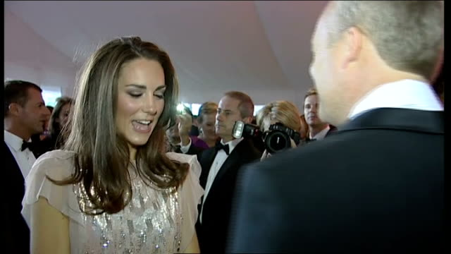 duke and duchess of cambridge attend ark charity dinner more shots of william and catherine chatting to guests - ark stock videos and b-roll footage